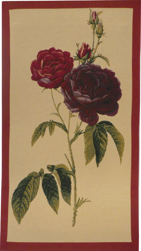 Rosa Gallica bordered tapestry - botanical art tapestries