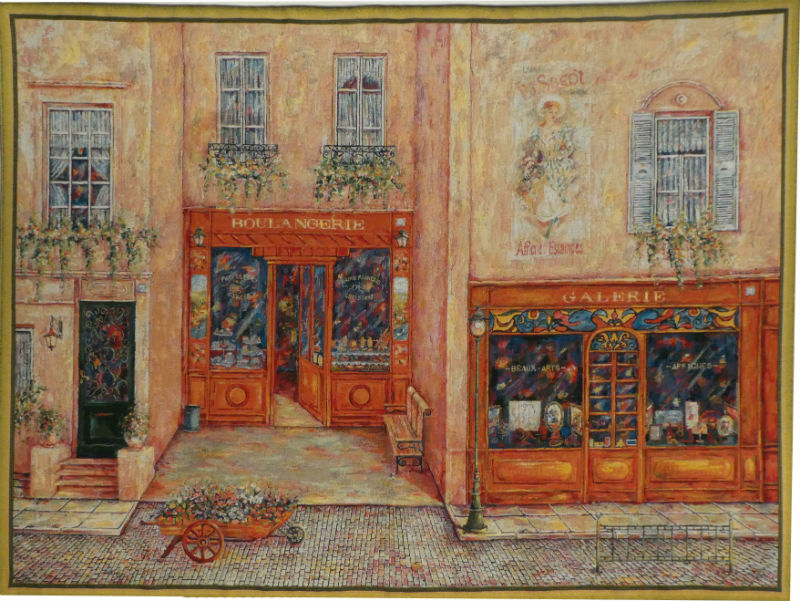 Sagot Terrace tapestry - French street scene wall tapestries
