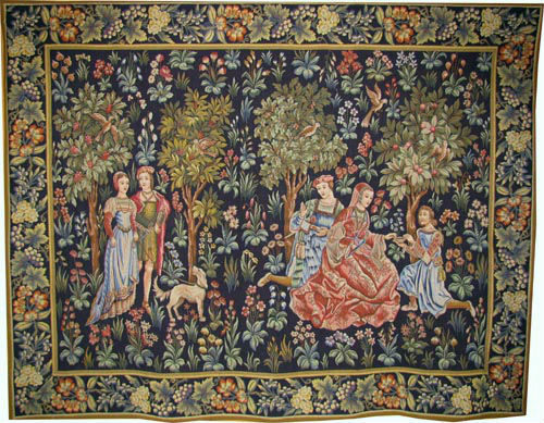 Scenes Galantes tapestry with border - early 15th century
