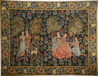 Scenes Galantes tapestry with border - early 15th century tapestry