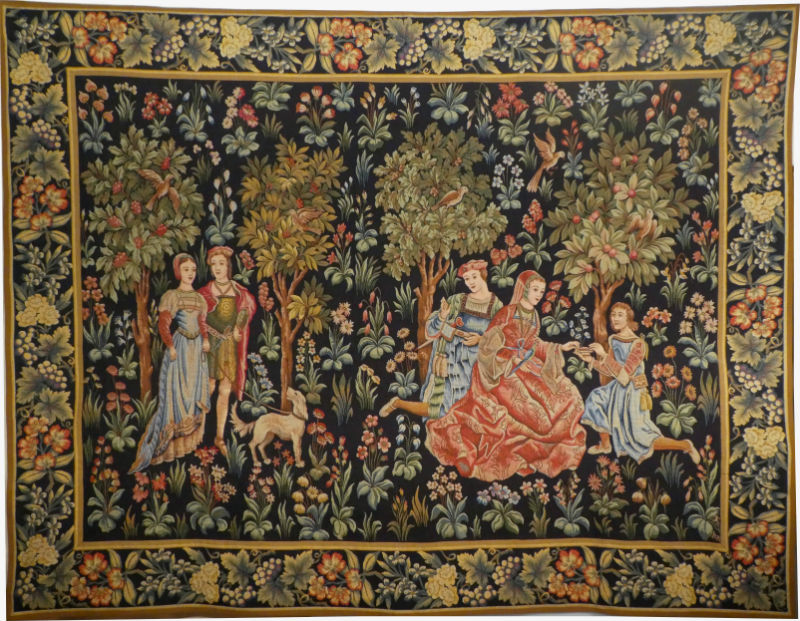 Scenes Galantes Tapestry With Border Early 15th Century