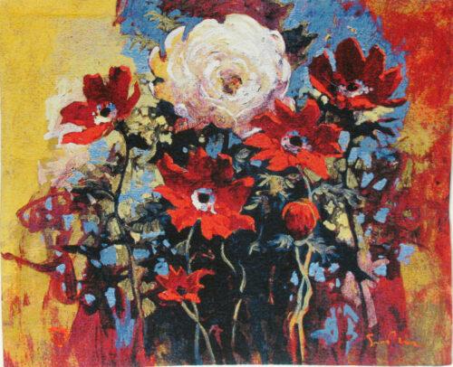 Simon Bull Bouquet Tapestry - Belgian art tapestries