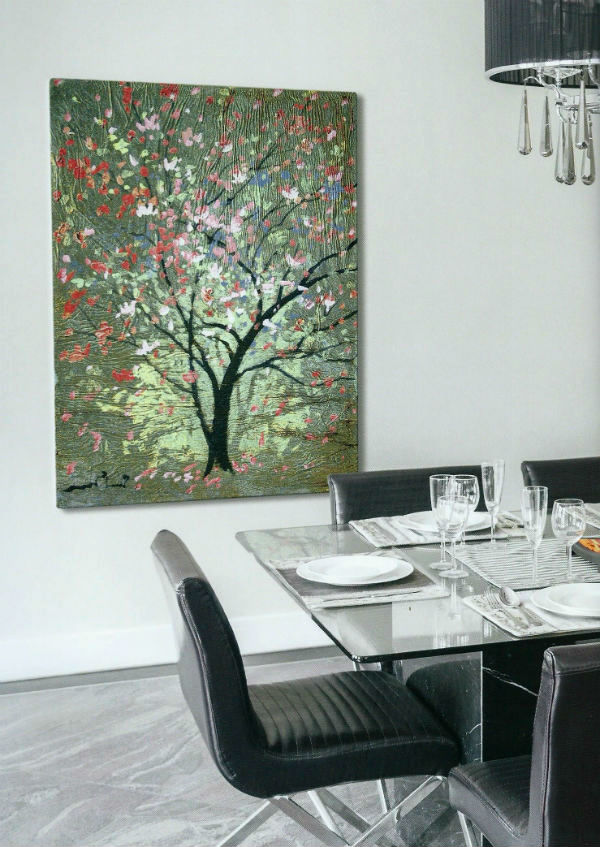 Simon Bull Hopeful Tree tapestry hanging in a dining room