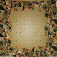Cockerels tablecloth - roosters table cloth - woven in France