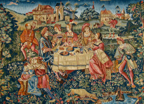 The Banquet - French medieval tapestry - Castle of Nantes