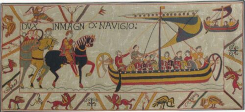 The Embarkment tapestry - Bayeux Tapestry reproduction