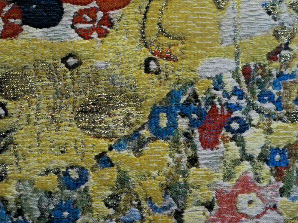 The Kiss tapestry wallhanging close-up detail