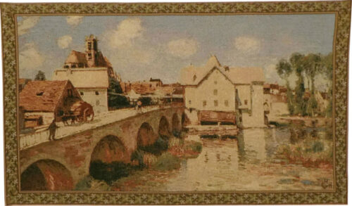 The Mill and Bridge - tapestry wallhanging woven in Italy