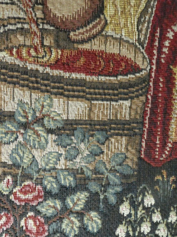 Close-up detail from the Vendange tapestry at the Cluny Museum