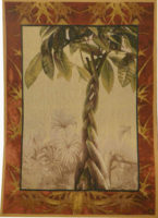 Tropical Ficus tapestry - fine French botanical wall tapestries