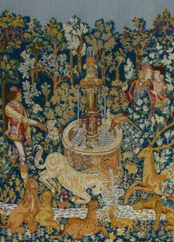 Unicorn at the Fountain - French medieval wall tapestry