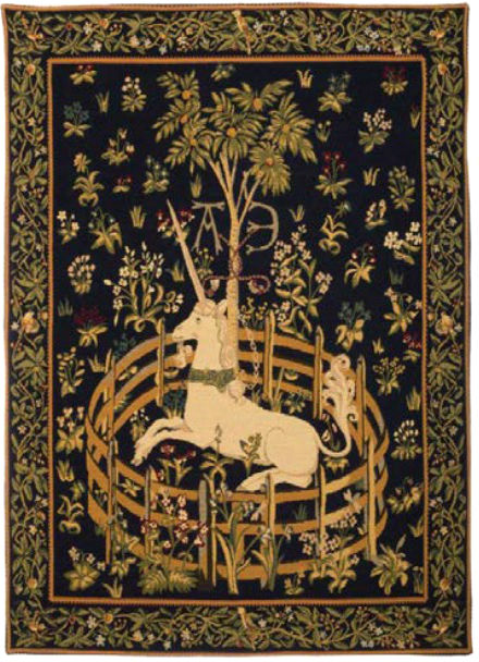 Unicorn in Captivity tapestry with border