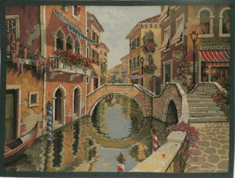 Venice Canal tapestry - fine woven art tapestries - Pejman Editions