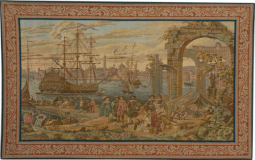 Venice Harbour - tapestry woven in Italy - Venetian ships