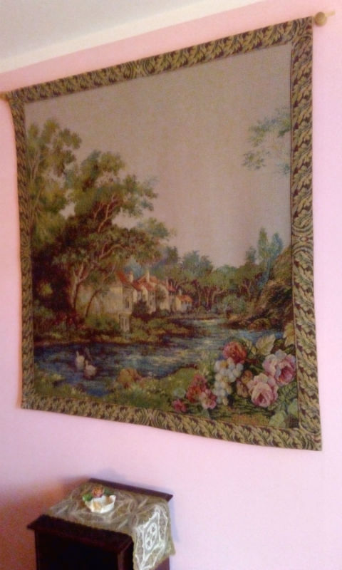 Village at the River tapestry wallhanging