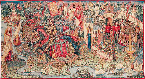 The Legend of King Arthur - Camelot wall tapestry woven in France