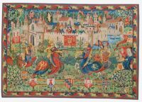 The Tournament at Camelot tapestry - knights jousting