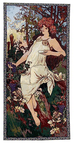Mucha Autumn - Art Nouveau wall tapestries