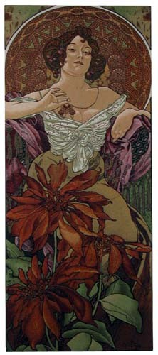 Mucha Ruby tapestry - Art Nouveau tapestries