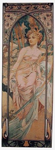 Mucha Morning Awakening tapestry - Art Nouveau tapestries