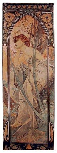 Mucha Evening Contemplation tapestry - Art Nouveau