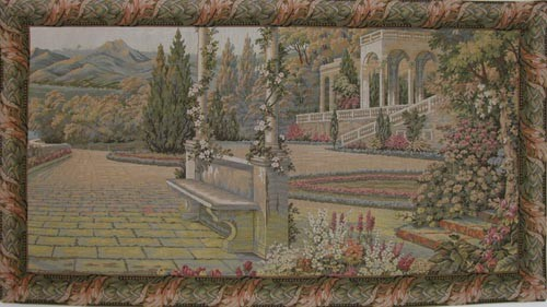 Terrace at Lake Como sale tapestry - Italian wall tapestries