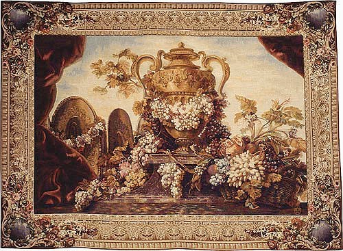 Vase and Grapes tapestry - Beauvais tapestries