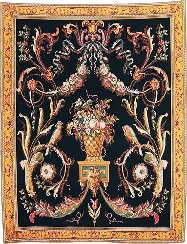 Birds tapestry - black - woven in Belgium