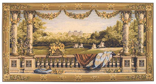 Chateau Bellevue long tapestry - chateaux wall tapestries