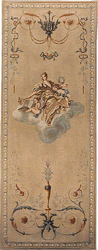 Gold Lady portiere tapestry - pair of slim tall wall-hangings