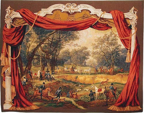 Napoleon in the Forest tapestry - elegant French hunting