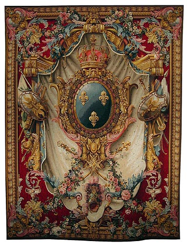 French Coat of Arms - burgundy tapestry