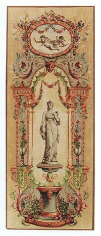 Elysee Portiere statue tapestry - pair of French tapestries