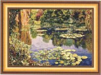 Giverny tapestry - gold border - Claude Monet