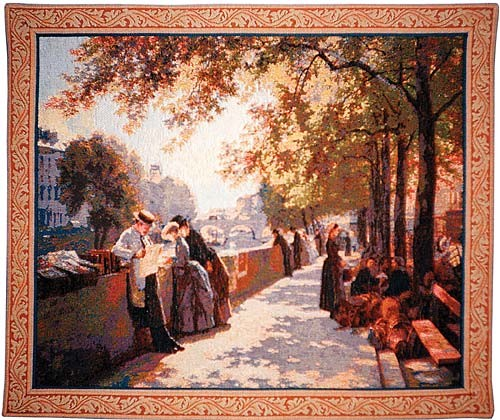 Bank of River Seine tapestry - Impressionist painting