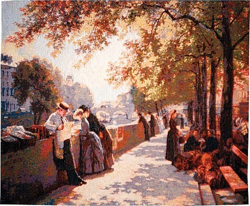 Bank of the River Seine tapestry - Impressionist scene