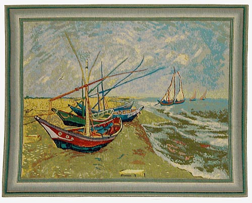 Fishing Boats on the Beach - Van Gogh wall tapestry