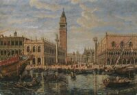 St. Mark's Venice tapestry - Canaletto painting