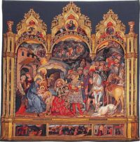 Adoration of the Magi square tapestry - Belgian wallhanging