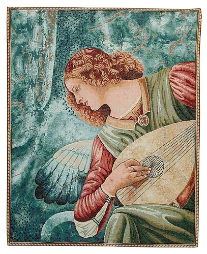 Angel with a Lute tapestry - religious tapestries