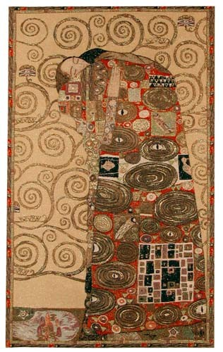 The Accomplishment tapestry is woven in France, from a painting by Gustav Klimt