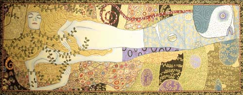 Klimt Water Snakes tapestry - Italian Art Nouveau wallhanging