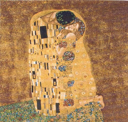 The Kiss by Gustav Klimt - square French tapestry