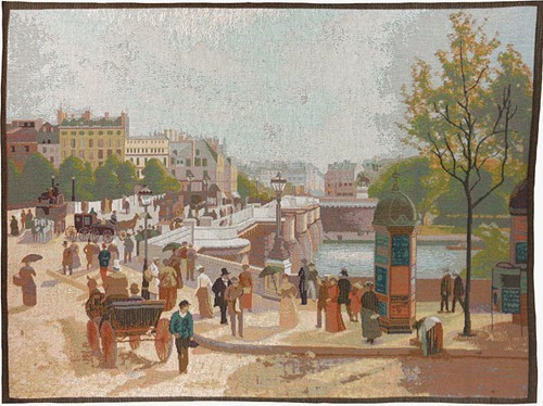Le Pont Neuf a la Belle Epoque - French art tapestry