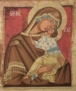 Mother of God Tenderness icon - tapestry woven in Italy