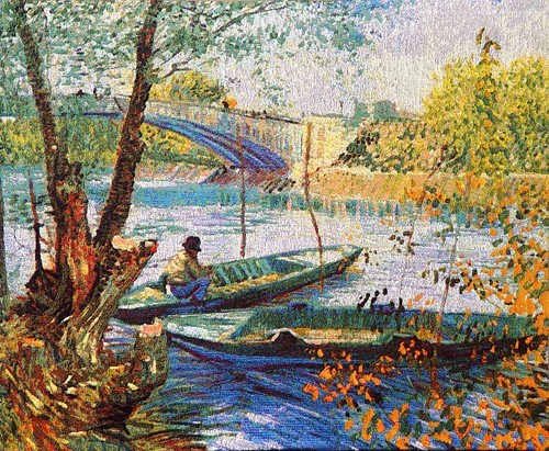 Fishing in Spring at Asnieres - Belgian tapestry