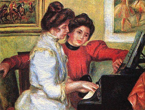 Piano - Renoir tapestry - Belgian tapestry wallhanging