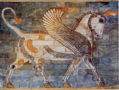 Winged Bull tapestry - ancient art wall tapestries