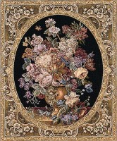Floral Composition black tapestry - Italian tapestry wallhanging