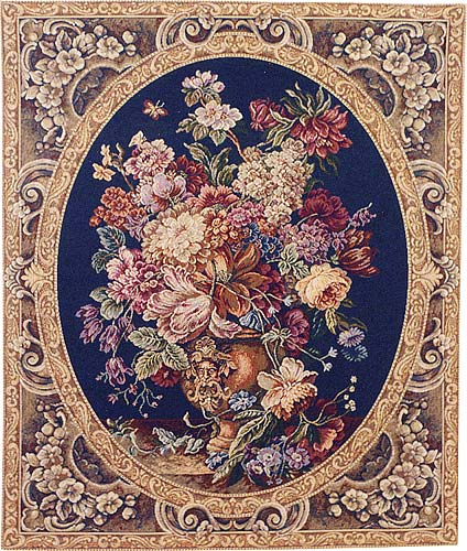 Floral Composition blue tapestry - Italian wall hanging tapestries